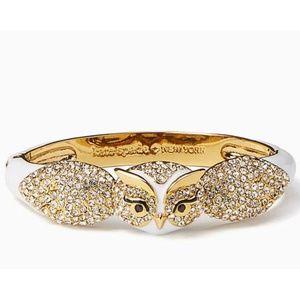 New Kate Spade Gold Wise Owl Crystal Pave Bracelet